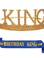 cheap -1 Piece Men's Birthday Crown Etiquette Belt Set Men's KING Crown Headdress Birthday Party Dress Up Cake Hat
