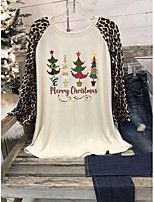 cheap -Women's Christmas Floral Theme Painting T shirt Graphic Leopard Long Sleeve Print Round Neck Basic Christmas Tops Regular Fit Beige / 3D Print
