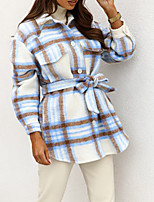 cheap -Women's Jacket Street Daily Going out Fall Winter Regular Coat Single Breasted Turndown Regular Fit Warm Casual Jacket Long Sleeve Plaid / Check Lace up Pocket Blue Khaki Orange / Print