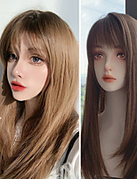 cheap -Wig Female Brown Medium Length Straight Hair Air Liu Hai Lolita Role Play Daily Wear Synthetic Heat-resistant Wig