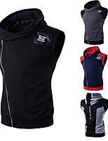 cheap -Men's Vest Gilet Sport Daily Spring Summer Short Coat Regular Fit Quick Dry Lightweight Breathable Casual Jacket Sleeveless Color Block Full Zip Patchwork Dark Grey Light Grey Black