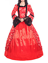 cheap -Ball Gown Elegant Vintage Halloween Quinceanera Dress Square Neck Long Sleeve Floor Length Satin with Lace Insert Embroidery 2021