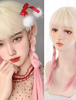 cheap -Straight Synthetic Wigs gold gradient pink Cosplay Wigs with Bangs for Girls Lolita Party Fake Hair Heat-resistant wig