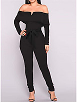 cheap -Jumpsuits Elegant bodycon Party Wear Wedding Guest Dress Off Shoulder Long Sleeve Ankle Length Stretch Fabric with Sleek Strappy 2021