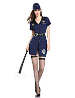 cheap -Police Cosplay Costume Adults' Women's Halloween Halloween Halloween Festival / Holiday Terylene Blue Women's Easy Carnival Costumes Solid Color / Dress / Hat / Waist Belt