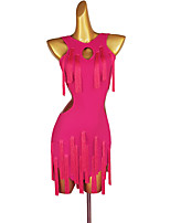 cheap -Latin Dance Dress Tassel Solid Women's Performance Sleeveless Chinlon