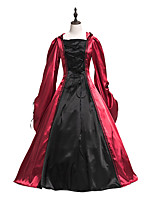 cheap -Ball Gown Elegant Vintage Halloween Quinceanera Dress Square Neck Long Sleeve Floor Length Satin with Lace Insert Strappy 2021