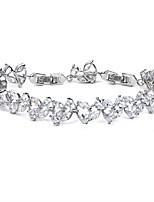 cheap -Women's Cubic Zirconia Tennis Bracelet Bracelet Tennis Chain Leaf Simple Luxury Elegant Fashion Copper Bracelet Jewelry Silver / Rose Gold / Gold For Party Wedding Gift Engagement Prom