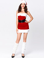 cheap -Santa Suit Dress Cosplay Costume Adults' Women's Christmas Christmas Christmas Festival / Holiday Terylene Red Women's Easy Carnival Costumes Solid Color / Hat