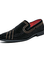 cheap -Men's Loafers & Slip-Ons Novelty Shoes Comfort Loafers Dress Loafers Casual Daily Party & Evening PU Handmade Non-slipping Black Color Block Fall Spring / Rhinestone