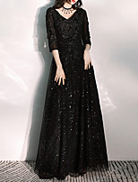 cheap -A-Line Glittering Floral Prom Formal Evening Dress V Neck 3/4 Length Sleeve Floor Length Tulle with Embroidery Appliques 2021