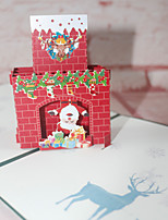 cheap -european and american new year holiday blessings christmas tree fireplace old man 3d stereo card paper carving hot stamping printing design greeting card
