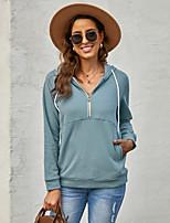cheap -Women's Hoodie Zip Up Hoodie Sweatshirt Solid Color Front Pocket Quarter Zip Casual Sports Active Streetwear Hoodies Sweatshirts  Blue Blushing Pink Gray