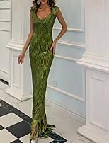 cheap -Sheath / Column Sparkle bodycon Party Wear Formal Evening Dress V Neck Sleeveless Floor Length Sequined with Sequin Tassel 2021