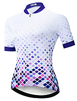 cheap -21Grams Women's Short Sleeve Cycling Jersey Summer Spandex White Plaid Checkered 3D Bike Top Mountain Bike MTB Road Bike Cycling Quick Dry Moisture Wicking Sports Clothing Apparel / Stretchy