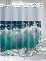 cheap -Waves Rolling Series Digital Printing Shower Curtain Shower Curtains Hooks Modern Polyester New Design