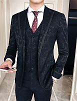 cheap -Men's Wedding Suits 3 pcs Notch Tailored Fit Single Breasted One-button Patch Pocket Patterned Cotton