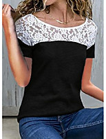 cheap -floral round neck short sleeve casual t-shirts