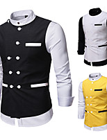 cheap -Men's Vest Gilet Business Work Fall Winter Regular Coat Regular Fit Thermal Warm Business Casual Jacket Sleeveless Solid Color Color Block Pocket Yellow White Black