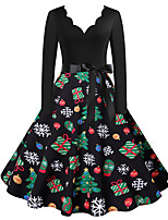 cheap -Santa Suit Audrey Hepburn Dress Swing Dress Adults' Women's Vintage Festival Christmas New Year Festival / Holiday Terylene Red+Black / Dark Green / Green Women's Easy Carnival Costumes Snowflake