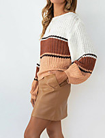 cheap -Women's Sweater Knitted Color Block Stylish Long Sleeve Sweater Cardigans Crew Neck Fall Winter Blue Purple Green