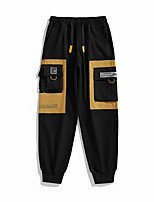 cheap -Men's Stylish Casual Streetwear Comfort Outdoor Jogger Sweatpants Casual Daily Pants Patchwork Letter Full Length Classic Drawstring Pocket Black+Grey Gray Black