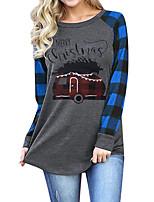 cheap -Women's Christmas Painting T shirt Plaid Graphic Text Long Sleeve Print Round Neck Basic Christmas Tops Regular Fit Blue Khaki Green / 3D Print