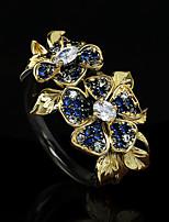 cheap -Women Ring AAA Cubic Zirconia Fancy Gold / Blue Brass Floral Theme Luxury Elegant Fashion 1pc / Women's