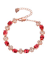 cheap -Women's Red Cubic Zirconia Bracelet Geometrical Flower Stylish Simple Copper Bracelet Jewelry Rose Gold For Daily Promise