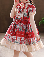 cheap -Kids Little Girls' Dress Cartoon Butterfly Animal Party Special Occasion Ruffle Puff Sleeve Bow Blue Red Knee-length Short Sleeve Princess Sweet Dresses Children's Day Fall Spring Regular Fit 3-12