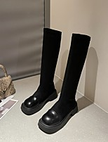 cheap -Women's Boots Chunky Heel Round Toe Rubber Solid Colored Khaki Black