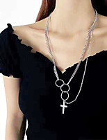 cheap -Necklace Layered Necklace Women's Double Layered Stainless Steel Cross Fashion European Trendy Hippie Silver 60 cm Necklace Jewelry 1pc for Street Daily