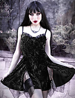 cheap -A-Line Vintage Sexy Halloween Party Wear Dress V Neck Sleeveless Short / Mini Polyster with Bow(s) Lace Insert 2021