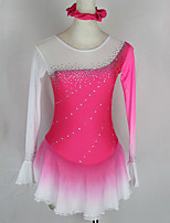cheap -Figure Skating Dress Women's Girls' Ice Skating Dress Pink Patchwork Spandex High Elasticity Competition Skating Wear Crystal / Rhinestone Long Sleeve Ice Skating Figure Skating / Kids