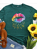 cheap -Women's T shirt Color Gradient Graphic Lip Print Round Neck Basic Vintage Tops Regular Fit Blue Blushing Pink Wine