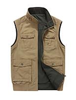 cheap -Men's Vest Gilet Street Sport Daily Fall Winter Regular Coat Regular Fit Warm Casual Sports Jacket Long Sleeve Plain Pocket Army Green Khaki Black