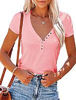 cheap -womens v neck bamboo blend henley t shirts short sleeve ribbed knit tee tops pink