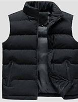 cheap -Men's Vest Daily Fall Winter Regular Coat Regular Fit Thermal Warm Casual Jacket Sleeveless Solid Color Quilted Blue Black