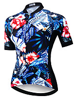 cheap -21Grams Women's Short Sleeve Cycling Jersey Summer Spandex Polyester Blue 3D Floral Botanical Funny Bike Top Mountain Bike MTB Road Bike Cycling Quick Dry Moisture Wicking Breathable Sports Clothing