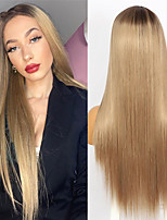 cheap -Long Straight Brown Wigs for Black Women Easy Install Glueless Hair Simulated Scalp Synthetic Machine Made Wig 2021