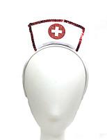 cheap -5 PCS Halloween Nurse Head Buckle Europe And America Cosplay Headgear Red Sequin Chain Nurse Headband