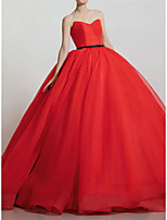 cheap -Ball Gown Luxurious Elegant Quinceanera Prom Dress Strapless Sleeveless Court Train Organza with Strappy 2021