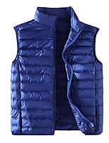 cheap -Men's Vest Daily Fall Winter Regular Coat Regular Fit Warm Casual Jacket Sleeveless Solid Color Quilted Blue Wine Gray