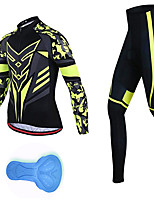 cheap -21Grams Men's Long Sleeve Cycling Jersey with Tights Spandex Black / Green Camo / Camouflage Bike Quick Dry Moisture Wicking Sports Geometric Mountain Bike MTB Road Bike Cycling Clothing Apparel
