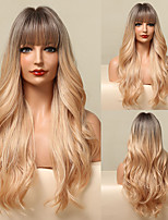 cheap -HAIR CUBE Long Yellow Blonde Ombre Wig Wavy Synthetic Wigs for Women Natural Hair Wig with Bangs Heat Resistant Daily Cosplay Wig