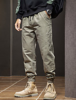 cheap -Men's Casual / Sporty Streetwear Comfort Outdoor Jogger Pants Sweatpants Trousers Cotton Casual Daily Pants Solid Color Full Length Drawstring ArmyGreen Black / Elasticity