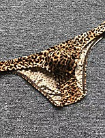 cheap -Men's Print Sexy Leopard Sexy Panties Briefs Underwear Stretchy Low Waist Yellow M