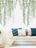 cheap -Hazy Green Leaves Plants Wall Stickers Bedroom Living Room Removable Pre-pasted PVC Home Decoration Wall Decal 2pcs