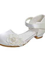 cheap -Girls' Heels Flower Girl Shoes Satin Wedding Dress Shoes Little Kids(4-7ys) Big Kids(7years +) Wedding Party Party & Evening Pearl Flower Light Pink Ivory Fall Summer