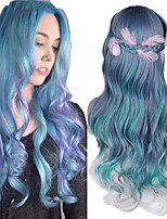 cheap -Synthetic Wig Deep Wave Middle Part Wig Long A1 A2 A3 A4 A5 Synthetic Hair Women's Cosplay Soft Party Blue Blonde